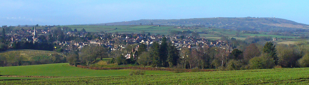 Cleobury Mortimer in the valley below Titterstone Clee on a sunny, clear day