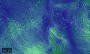 A still from an animated map of wind currents over Maine. Taken 30 January 2015.