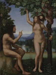 The Temptation of Adam and Eve (1509-1513) by Mariotto Albertinelli. Image via Wikimedia Commons, public domain.
