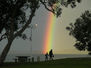 Rainbow At Maraetai Beach New Zealand, by Haley Sulcer