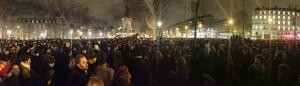 Demonstrators gather at the Place de la République in Paris on the night of the attack.