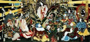 """Japanese Sun goddess Amaterasu emerging from a Cave,""""ORIGIN OF IWATO KAGURA DANCE"""""""