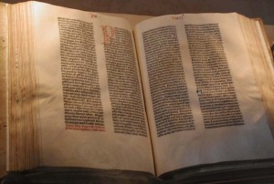 """""""Gutenberg Bible"""" by Raul654. Licensed under CC BY-SA 3.0 via Wikimedia Commons - http://commons.wikimedia.org/wiki/File:Gutenberg_Bible.jpg#/media/File:Gutenberg_Bible.jpg"""