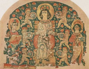 """Hestia tapestry"". Licensed under Public Domain via Wikimedia Commons - https://commons.wikimedia.org/wiki/File:Hestia_tapestry.jpg#/media/File:Hestia_tapestry.jpg"