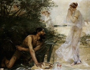 """Jean Veber - Ulysses and Nausicaa, 1888"" by Jean Veber - Unkonw. Licensed under Public Domain via Wikimedia Commons - https://commons.wikimedia.org/wiki/File:Jean_Veber_-_Ulysses_and_Nausicaa,_1888.jpg#/media/File:Jean_Veber_-_Ulysses_and_Nausicaa,_1888.jpg"