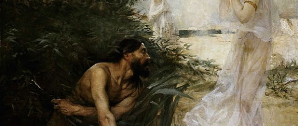 """""""Jean Veber - Ulysses and Nausicaa, 1888"""" by Jean Veber - Unkonw. Licensed under Public Domain via Wikimedia Commons - https://commons.wikimedia.org/wiki/File:Jean_Veber_-_Ulysses_and_Nausicaa,_1888.jpg#/media/File:Jean_Veber_-_Ulysses_and_Nausicaa,_1888.jpg"""