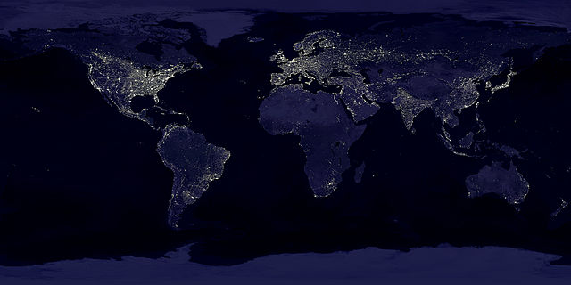 """""""Earthlights"""" - Data courtesy Marc Imhoff of NASA GSFC and Christopher Elvidge of NOAA NGDC.Image by Craig Mayhew and Robert Simmon, NASA GSFC. - http://eoimages.gsfc.nasa.gov/ve//1438/land_lights_16384.tif. Licensed under Public Domain via Commons - https://commons.wikimedia.org/wiki/File:Earthlights_dmsp.jpg#/media/File:Earthlights_dmsp.jpg"""