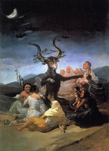 Francisco de Goya's Witches Sabbat (1789), which depicts the Devil flanked by Satanic witches. The Witch Cult hypothesis states that such stories are based upon a real-life pagan cult that revered a horned god