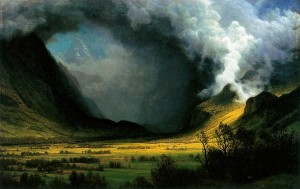 Storm in the Mountains (1870) by Albert Bierstadt - arthistory.about.com, Public Domain.