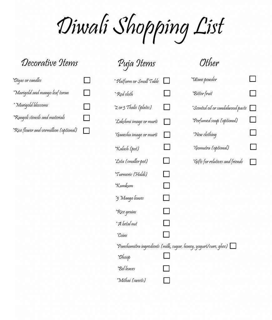 diwali shopping list