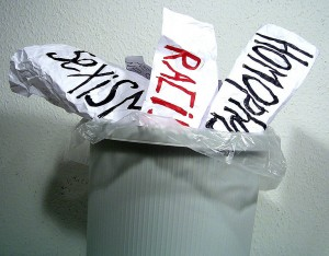 Put Sexism, Racism an Homophobia in the trash from Kurt Löwenstein Educational Center International Team from Germany