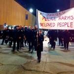 Thorn Coyle marching with Brennos of the Coru Cathubodua, Oakland, Nov 24. [Photo Courtesy: Gae Sidhe]