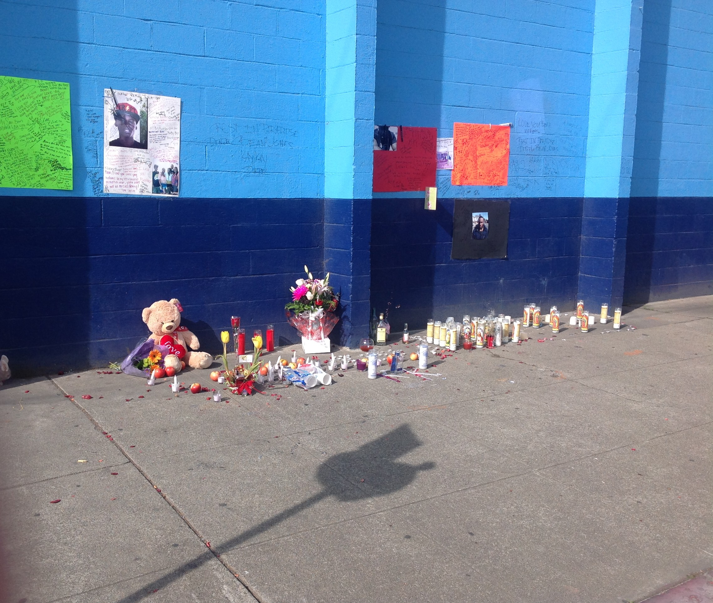 Memorial from a high school student shot in Oakland. Photo by Crystal Blanton