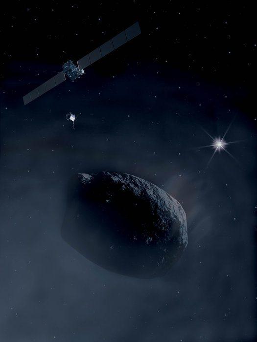 Rosetta and Philae orbiting a comet