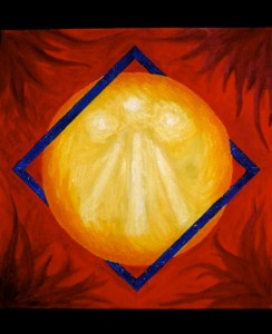 Painting of the sun on a red background