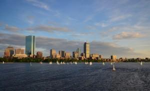 Boston, Charles River, skyline, sailboats
