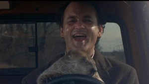 Bill Murray in Groundhog Day.  Columbia-Tristar.