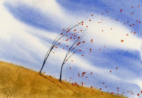 wind and leaf painting
