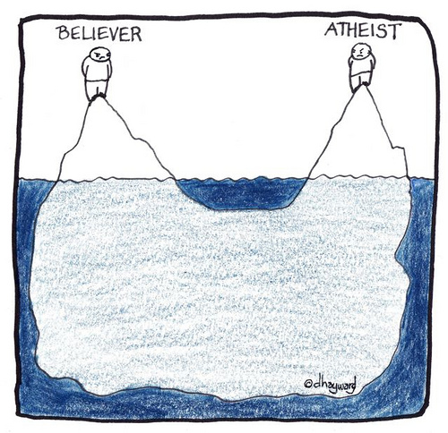 Believer and atheist share a deep union.