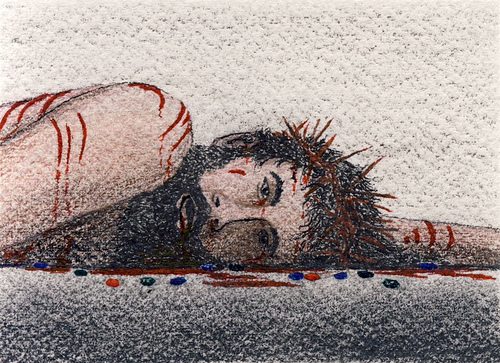 Jesus Suffers Among Precious Stones drawing