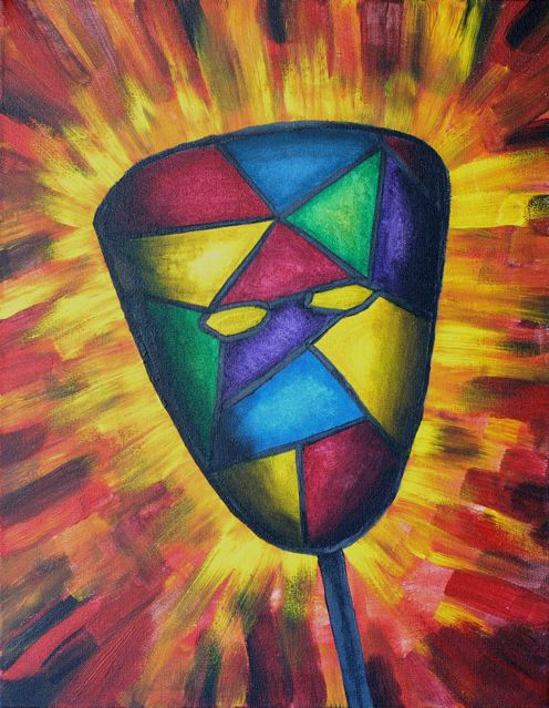 """my painting """"religious self"""" mask."""