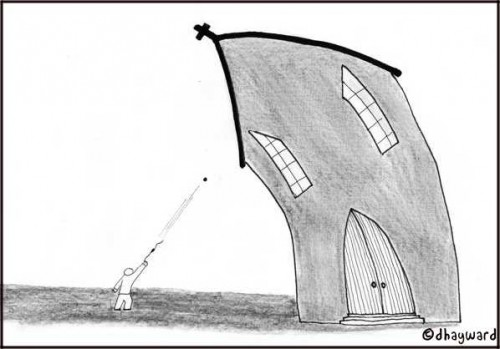 david and goliath up against religion drawing cartoon by david hayward nakedpastor