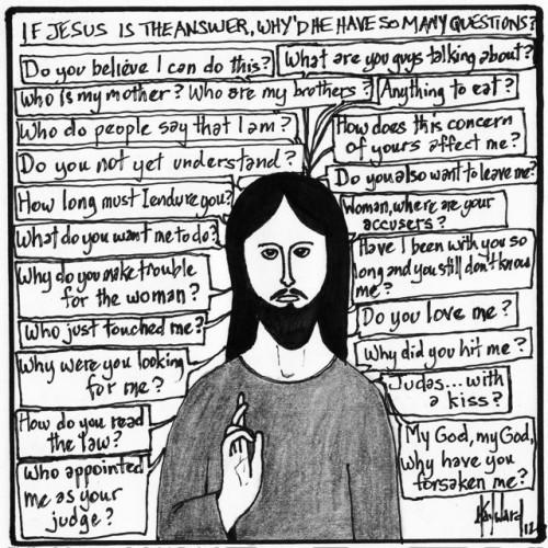 jesus questions cartoon drawing by nakedpastor david hayward