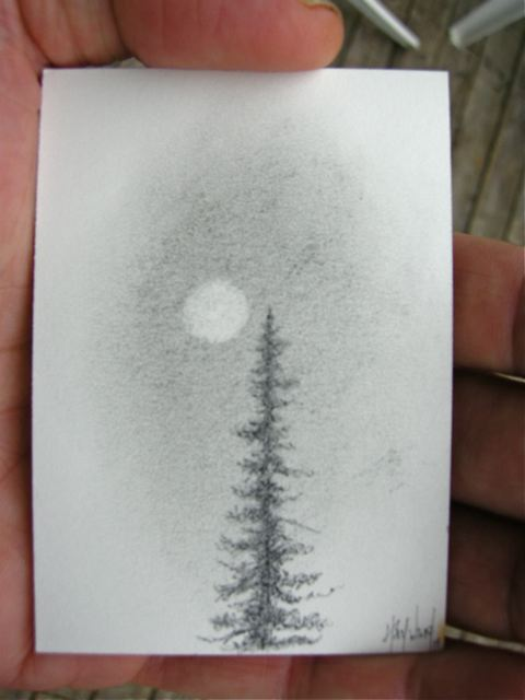 original miniature drawing pencil tree moon by nakedpastor david hayward