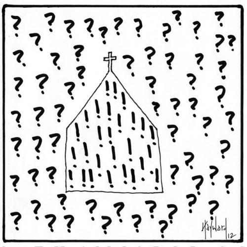 question exclamations cartoon drawing by nakedpastor david hayward