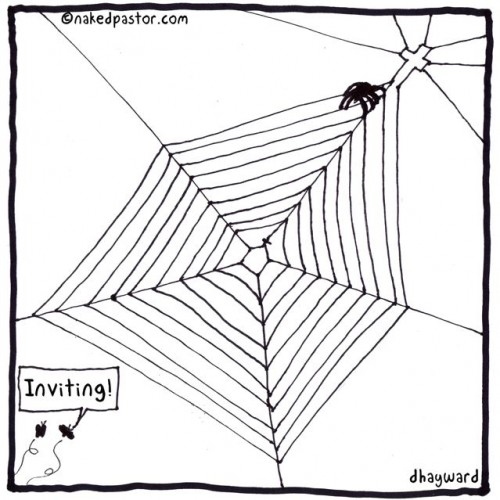 web of deceit cartoon drawing by nakedpastor david hayward