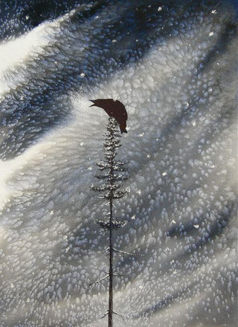 cold crow watercolor painting by nakedpastor david hayward