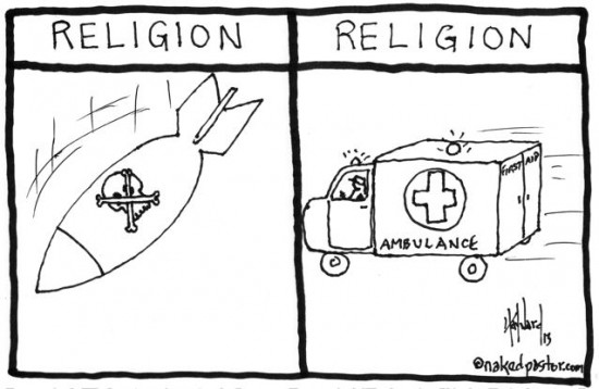 religion inflicts suffering then offers the cure cartoon by nakedpastor david hayward