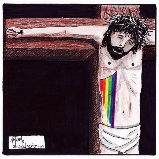 rainbow blood of jesus cartoon by nakedpastor david hayward
