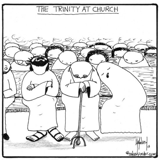 trinity at church cartoon by nakedpastor david hayward
