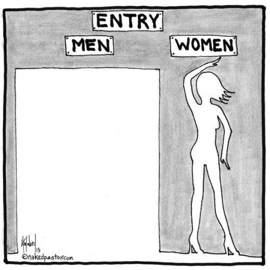 entry men and women cartoon by nakedpastor david hayward