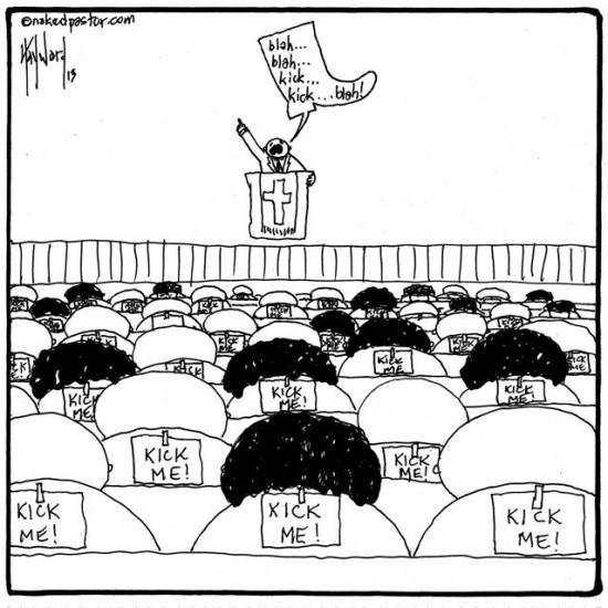 kick me normalization of abuse cartoon by nakedpastor david hayward