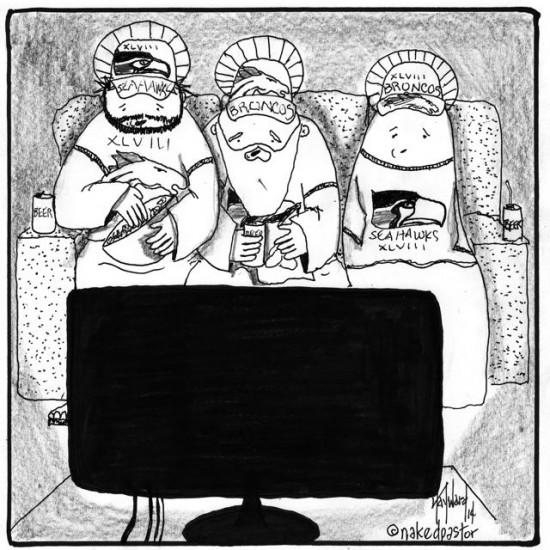 god and the super bowl cartoon by nakedpastor david hayward
