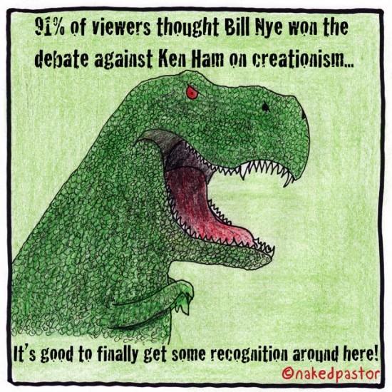 nye against ham debate on creationism t-rex recognition cartoon nakedpastor