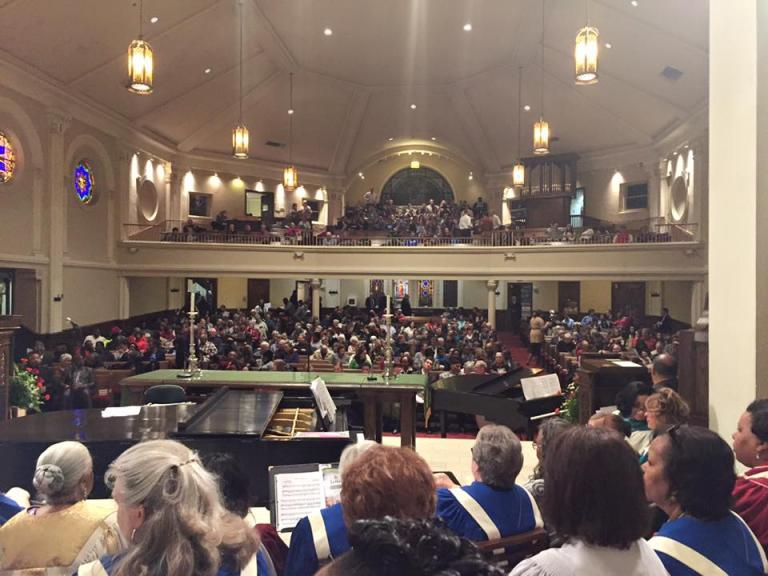Central Christian Church in Lexington, KY, has held this community-wide worship service on the Sunday before MLK day for as long as i can remember. This is the vantage point from the choir loft--where a combined choir from several different churches in the neighborhood work on the service music for WEEKS. It is always impressive.