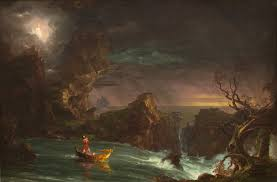 Manhood: This painting is especially apropos of midlife. The skies are dark, the seas are stormy and  the end of the journey is in view. The boat has taken a beating, and the angel, representing the presence of God, seems miles away. The man's pleading seems to echo off the doors of heaven.