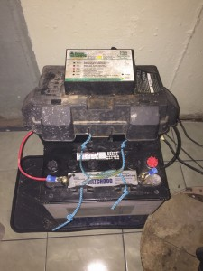 Our new place has some quirks of its own. Sump pumps ensure that basements won't flood. Our sump pump has a car battery powering it. (Anyone ever seen this?)