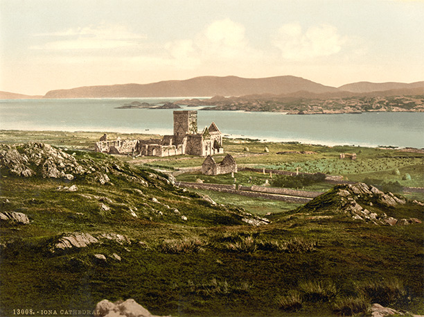 Iona Abbey (in a 19th-Century postcard) founded by Scotland's founding Christian missionary, Columcille