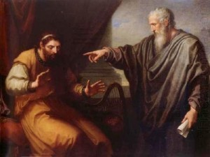 "Nathan the prophet confronts King David: ""You are the man"""