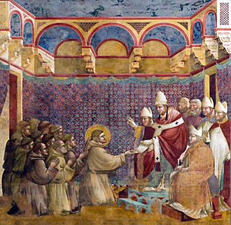 Francis before Pope Innocent III in 1209, depicted by Giotto