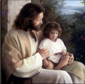 A painting of Jesus Christ holding a child.