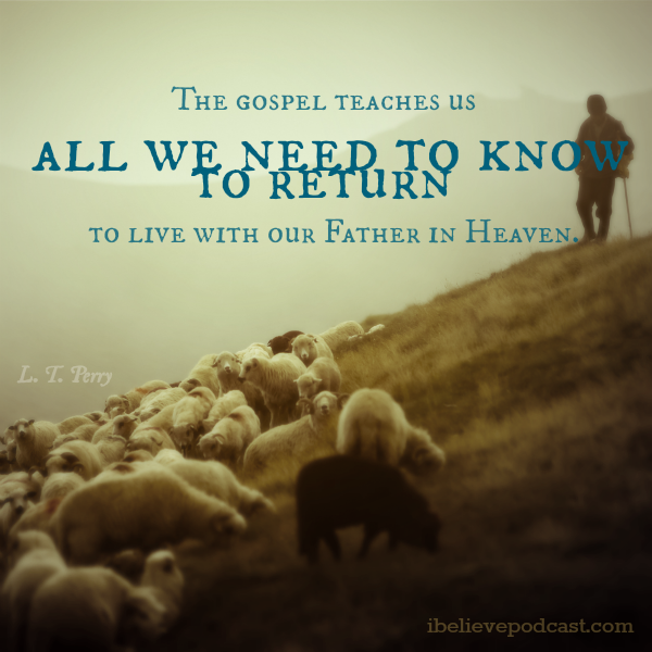 A man herding sheep and a quote about the gospel of Jesus Christ from L. Tom Perry.