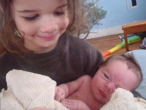 Lucy holding baby