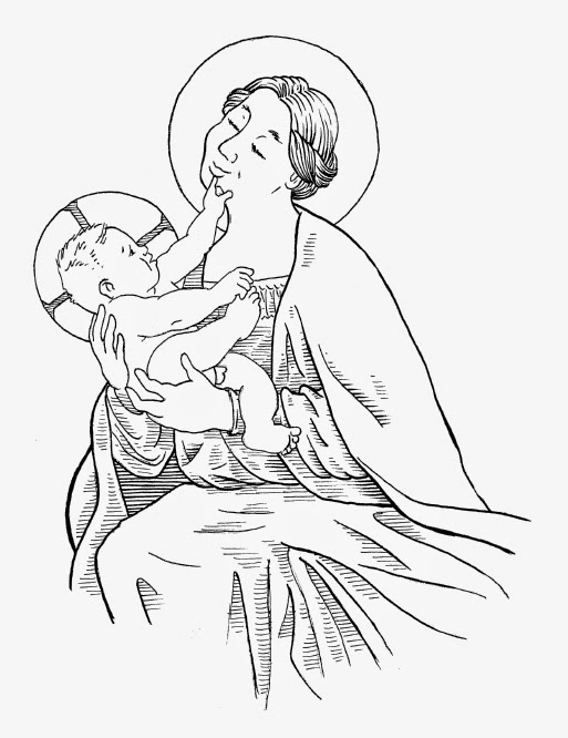 matt clark madonna and child line drawing