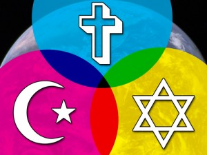 a Venn diagram showing intersections between circles labeld with a Christian cross, a Jewish start, and the Islamic crescent