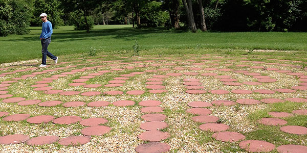 Me walking the labyrinth at the Headquarters of the Theosophical Society in America (didn't encounter any spirits)